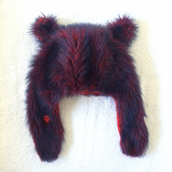 Handmade Accessories - HP🎉 Red Blue Faux Fur Cat Bear Hat with Ears 🇺🇸