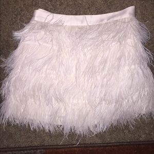 White EXPRESS ostrich feather skirt