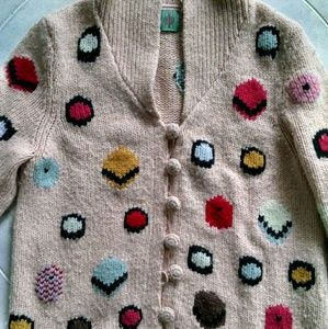 Anthropolgie: colorful pink dotted wool sweater