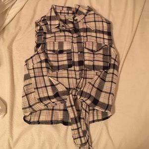 Plaid button up crop top with tie at the bottom