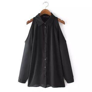 Cold shoulder button-up blouse