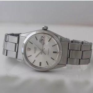 Rolex Jewelry - Rolex oyster perpetual date, silver dial .