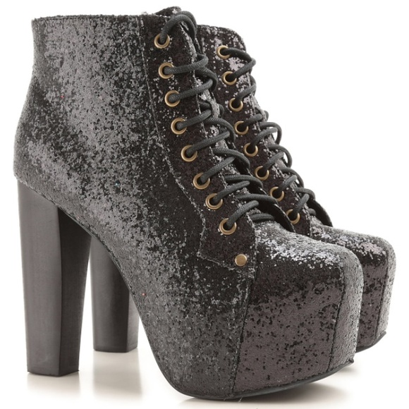 50 off jeffrey campbell shoes jefferey campbell glitter black lita booties from trendysisters. Black Bedroom Furniture Sets. Home Design Ideas