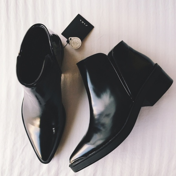 Zara Flat Pointed Toe Ankle Boots