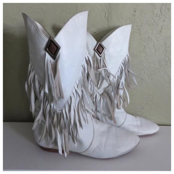 Vintage 8s White Fringe Leather Boots