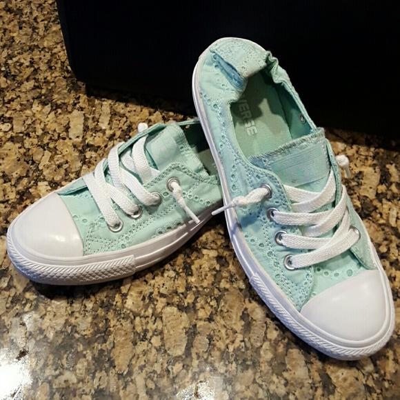 322651e6d399 Converse Shoes - Mint colored eyelet lace converse!