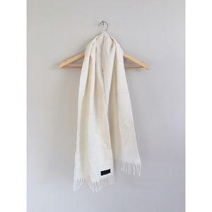 Vintage pure lambswool URUGUAY ivory fringe scarf
