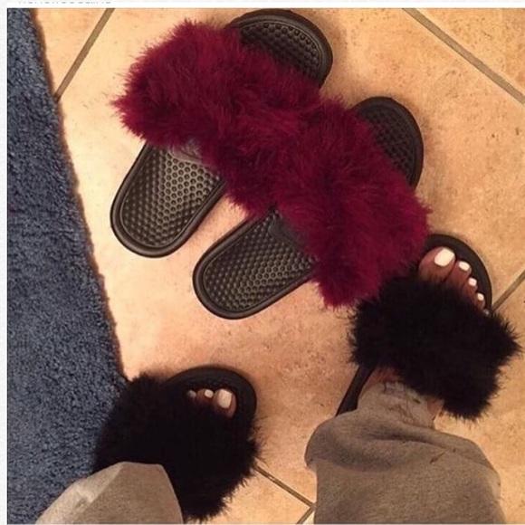 Nike Shoes | Nike Custom Fur Slippers