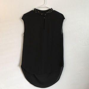 Bellatrix Tops - Black Embellished Collar Top