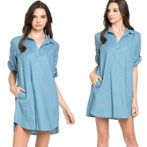 •chambray shirt dress•