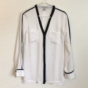 H&M Tops - Tuxedo Style Black and White H&M Blouse