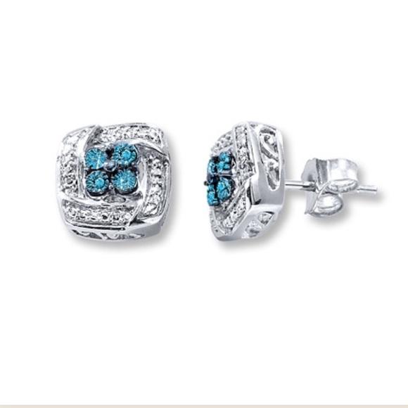 5e2262050 Kay Jewelers Jewelry   Blue Diamond Earrings Sterling Silver   Poshmark