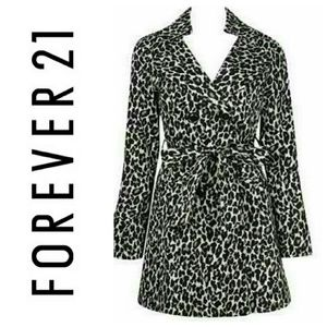 Giraffe print trench coat