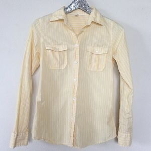 🎈J.crew Yellow Stripe Button Down Top, Size S