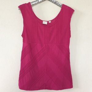 Anthropologie 9-H15-STCL Cap Sleeve Fuchsia Top