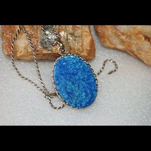 Large Blue in Titanium Drusy Statement Pendant 3""