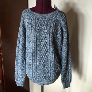 GAP Blue White Aran Cable Knit Sweater XS New NWT
