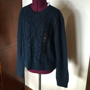Banana Republic Blue Cable Knit Sweater S NWT