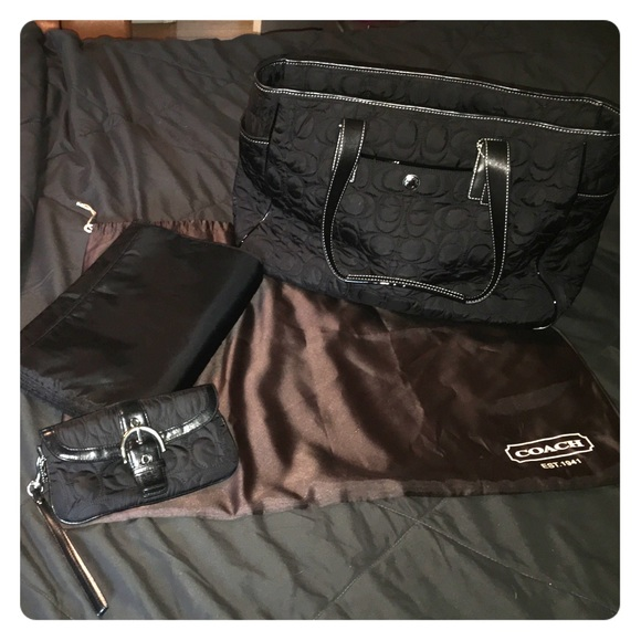 coach authentic coach quilted black diaper bag wristlet from melissa 39 s. Black Bedroom Furniture Sets. Home Design Ideas