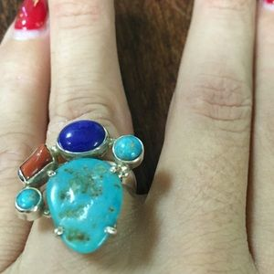 Jewelry - 🎉HP 🎉Coral lapis and turquoise ring in 925 SS