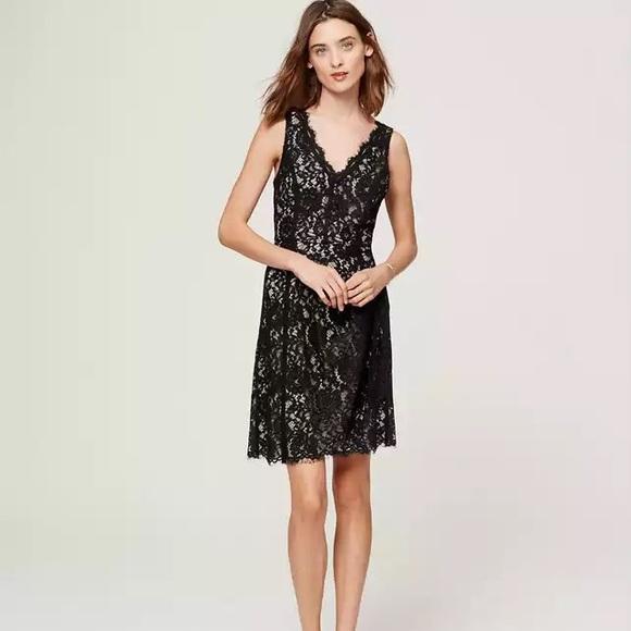dcc12ca2423 Ann Taylor Loft Black Lace v-neck dress