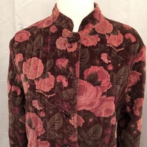 Vintage Jackets & Blazers - Vintage Cabbage Rose Print Cotton Velvet Jacket