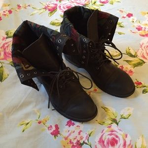 Black with Floral Combat Boots