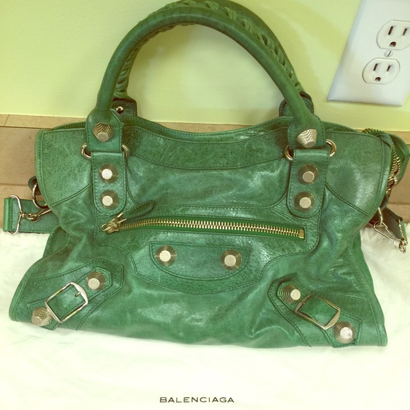 offer discounts preview of how to buy Authentic Balenciaga green purse