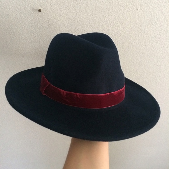 18622b271583b Navy felt wide brim hat with red velvet trim