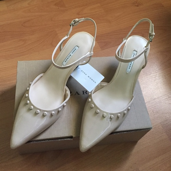959f97482471 Zara kitten heel studded shoe