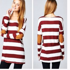 •striped elbow patch tunic•