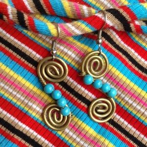 Hippie Brassy Swirl Earrings