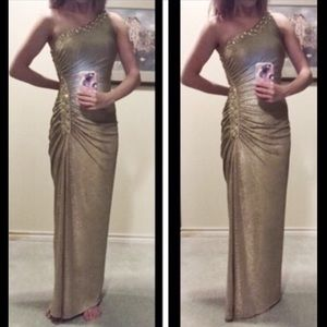 Gold One Shoulder Prom Dress Cache