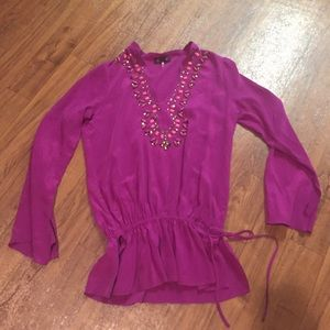 Hale Bob Purple Embellished Silk Tunic Top