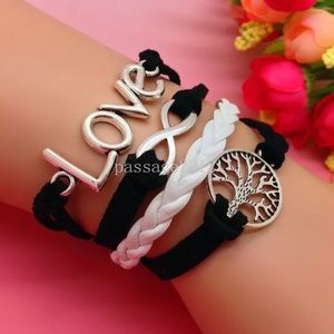 Love leather silver bracelet