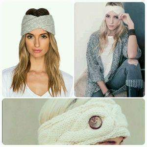 Ivory Knit Fleece Lined Button Headband Ear Warmer