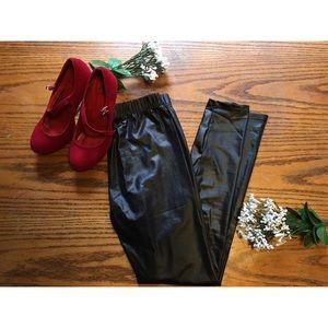 Pants - Shiny Faux Leather Leggings