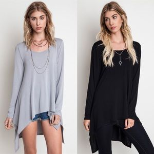 "LOWEST ""Sputnik"" Long Sleeve Asymmetric Hem Top"