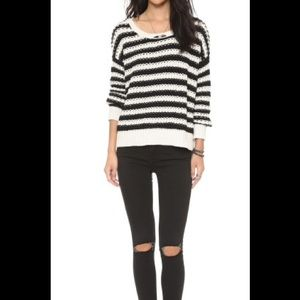 Free people black and ivory striped sweater