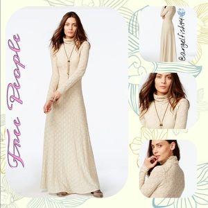 Free people white river turtleneck maxi dress
