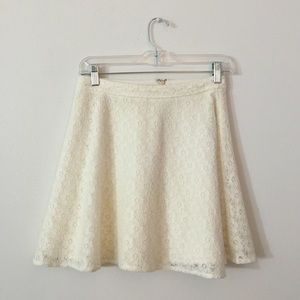 cream lace skater/circle skirt
