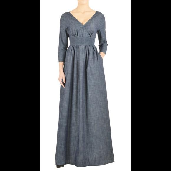 6385841013b Eshakti Dresses   Skirts - New Eshakti Chambray Maxi Dress Sz 24