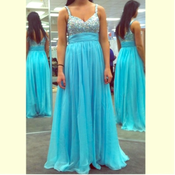 La Femme Dresses | Sequin Top Baby Blue Long Prom Dress | Poshmark