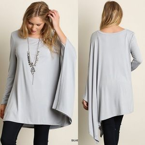 """Diorama"" Long Sleeve Draped Side Top"