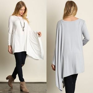 "Bare Anthology Tops - ""Diorama"" Long Sleeve Draped Side Top"