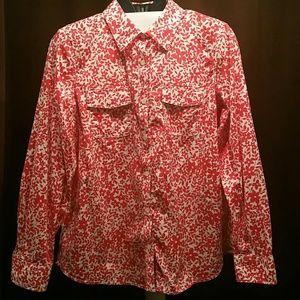 (C) L.L. Bean Floral Long Sleeve Button Up