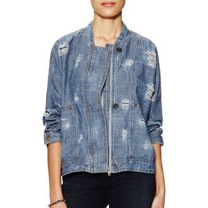 NWOT Free People Distressed Denim Tennis Jacket S