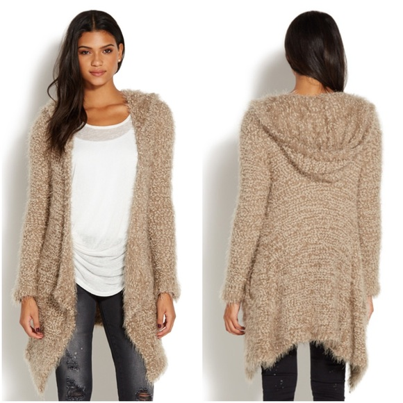 49% off La Creme Sweaters - Beige Tan Boucle Long Hooded Cardigan ...