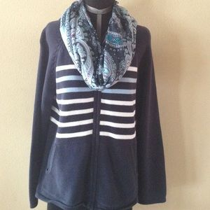 Relativity Sweaters - Navy, hooded, zip up sweater.