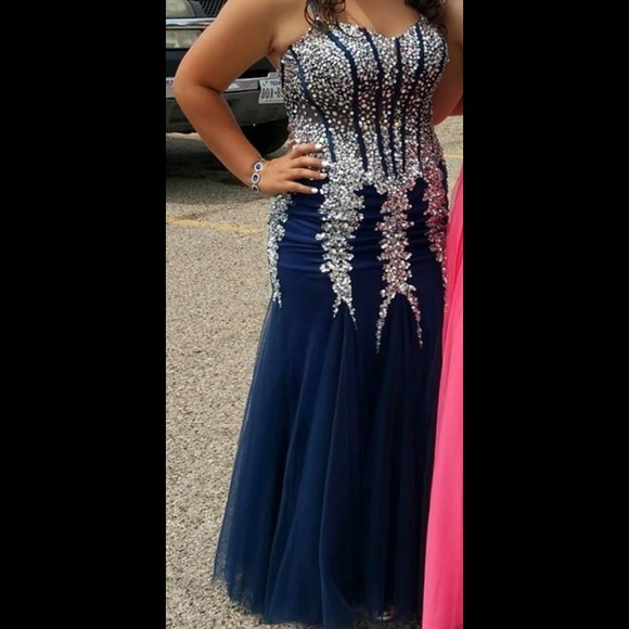 091c1060882 Jovani Dresses   Skirts - Jovani 5908 Navy Blue Silver Mermaid Prom dress